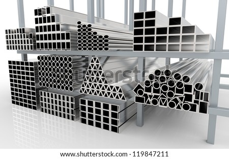 3d render of  metal pipes on shelf - stock photo