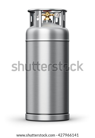 3D render of metal steel container or cylinder for liquefied compressed natural oxygen, nitrogen or other gas for scientific tests and industrial use with high pressure gauge meter and valve isolated - stock photo
