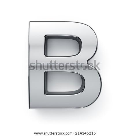 3d render of metallic alphabet letter symbol - B. Isolated on white background - stock photo