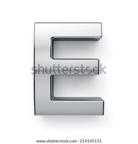 3d render of metallic alphabet letter symbol - E. Isolated on white background - stock photo