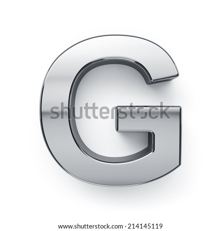 3d render of metallic alphabet letter symbol - G. Isolated on white background - stock photo