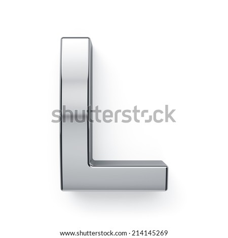 3d render of metallic alphabet letter symbol - L. Isolated on white background - stock photo