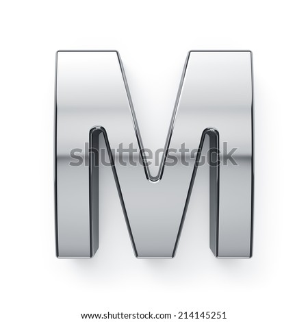 3d render of metallic alphabet letter symbol - M. Isolated on white background - stock photo