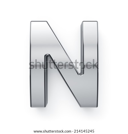 3d render of metallic alphabet letter symbol - N. Isolated on white background - stock photo