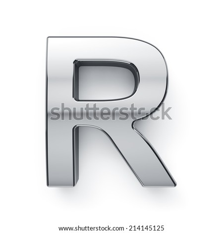 3d render of metallic alphabet letter symbol - R. Isolated on white background - stock photo