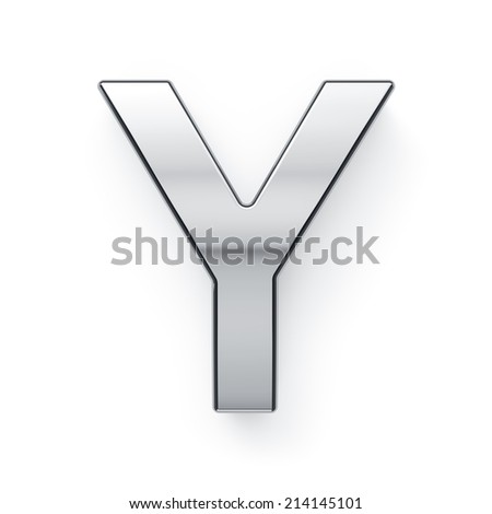 3d render of metallic alphabet letter symbol - Y. Isolated on white background - stock photo