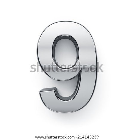 3d render of metallic digit nine symbol - 9. Isolated on white background - stock photo