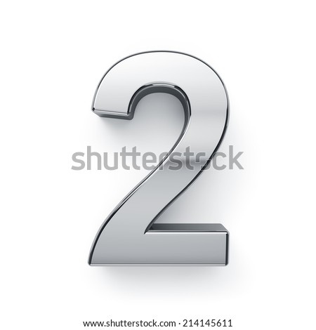 3d render of metallic digit two symbol - 2. Isolated on white background - stock photo