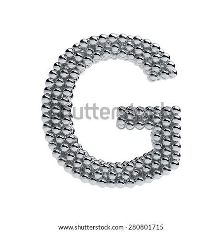 3d render of metallic spheres alphabet letter symbol - G. Isolated on white background - stock photo