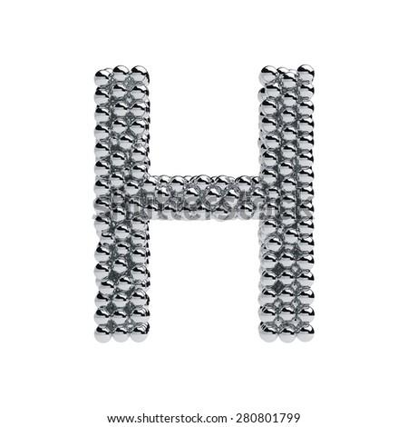3d render of metallic spheres alphabet letter symbol - H. Isolated on white background - stock photo