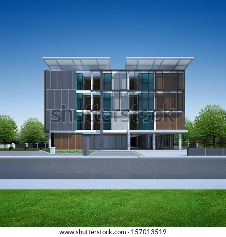 3D render of modern building - stock photo