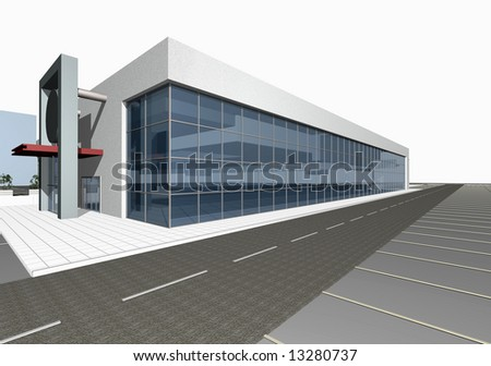 3D render of modern building exterior isolated over white background