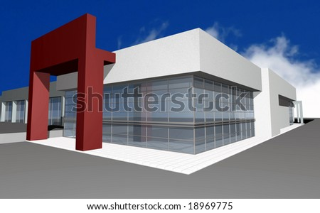3D render of modern business center, isolated over blue sky