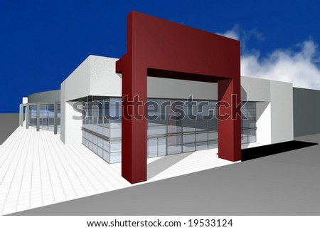 3D render of modern business center isolated over blue sky with cloud