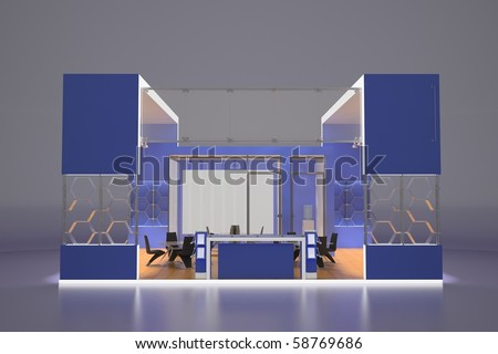 3d render of modern exhibition stand - stock photo