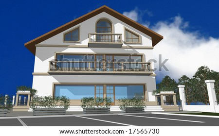 3D render of modern house, facade, exterior,  isolated over blue sky