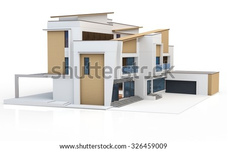 3d render of modern house on white background