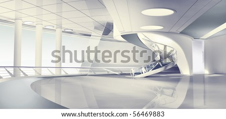 3d render of modern interior - stock photo