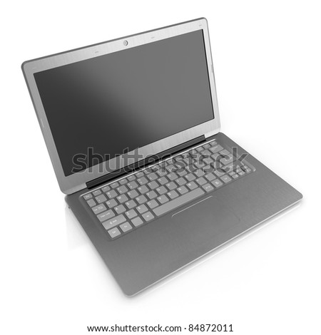 3d render of modern laptop isolated on white background
