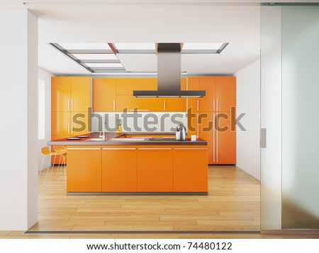 3d render of modern orange kitchen