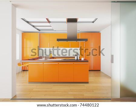 3d render of modern orange kitchen - stock photo