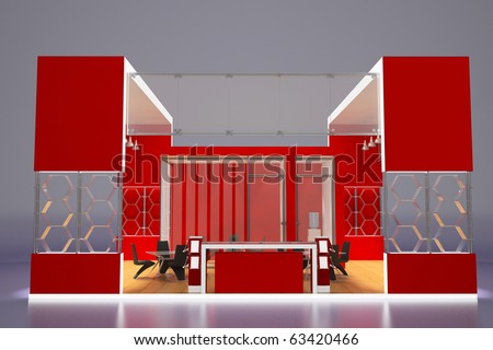 3d render of modern red exhibition stand.Front view. - stock photo