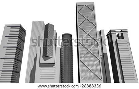 3D render of modern skyscrapers against white