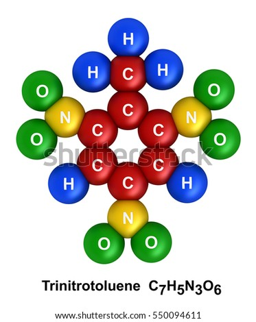 3d render of molecular structure of trinitrotoluene isolated over white background and color coding: hydrogen(H) - blue, oxygen(O) - green, nitrogen(N) - yellow, carbon(C) - red.