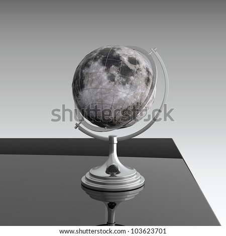 3d render of moon globe on black table - stock photo
