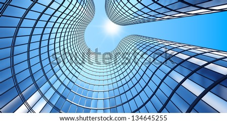 3d render of morning view to perspective glass building - stock photo
