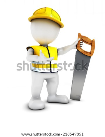 3D Render of Morph Man Builder with saw