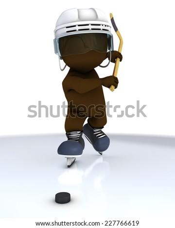 3D Render of Morph Man ice hockey - stock photo