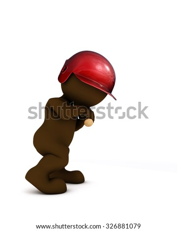 3d render of morph man playing baseball