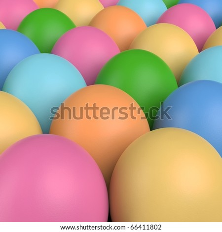 3D render of multi-colored Easter eggs in rows.