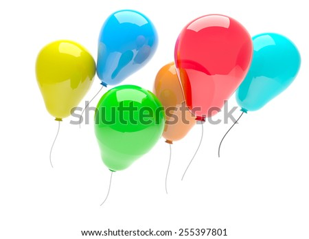3d render of multicolor party balloons isolated on white background - stock photo