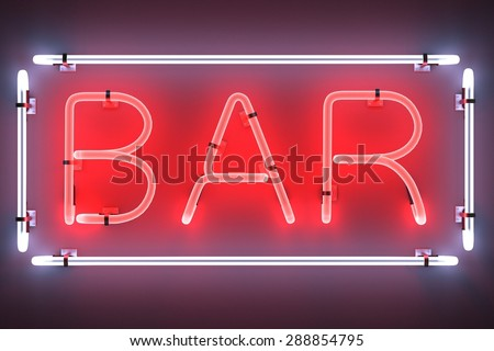 3d render of neon lights - bar - stock photo