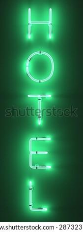 3d render of neon lights - hotel - stock photo