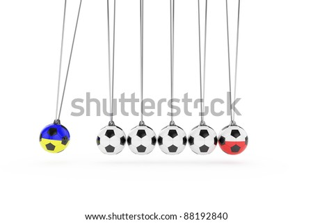 3d render of newton football concept on white background - stock photo