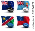 3D Render of 4 of the 20 participating nations in the rugby world cup. Ball colors depict the colors that the team usually wears. New Zealand, Fiji, Namibia, Samoa - see other images for other teams - stock photo
