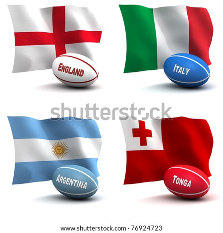 3D Render of 4 of the 20 participating nations in the rugby world cup. Ball colors depict the colors that the team usually wears. England, Italy, Argentina, Tonga - see other images for other teams - stock photo