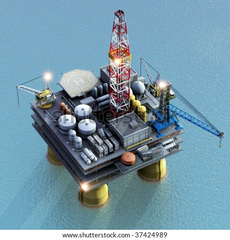 3D Render of offshore oil-rig - stock photo