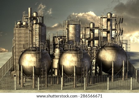 3d render of oil refinery