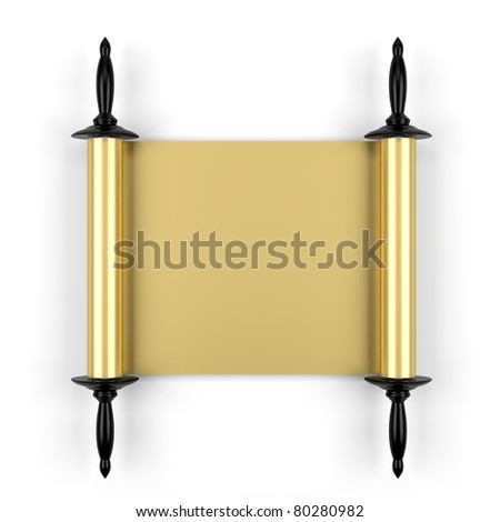 3d render of old gold manuscript isolated on white - stock photo