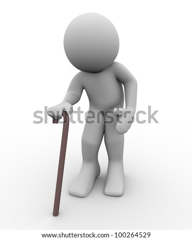 3d render of old man with walking stick. 3d illustration of human character