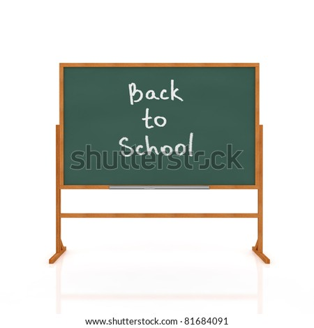 3d render of old school blackboard isolated on white background - stock photo