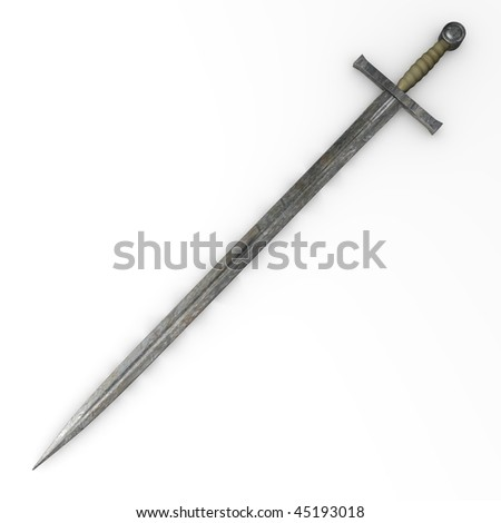 3d render of old sword - stock photo