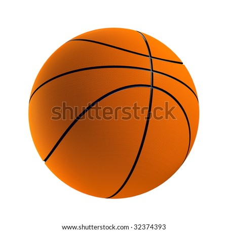 3d render of one basket ball isolated in white background - stock photo