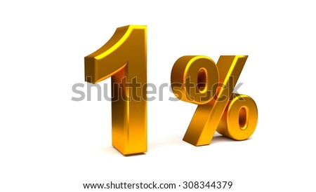 3D render of One Percent text in big golden letters on a white background.