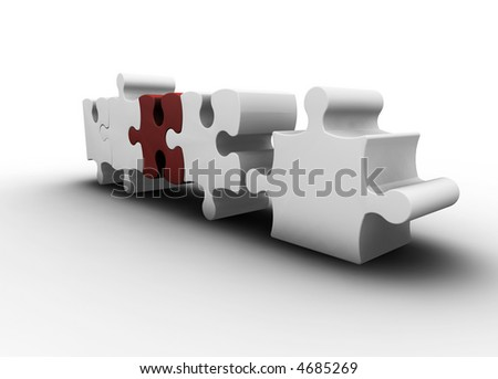 3D render of one red puzzle piece amongst white ones