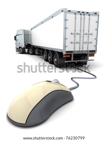 3d render of online freight order tracking - stock photo